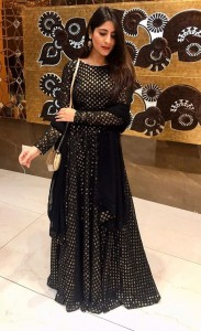 Fabulous Black Color Georgette Sequence Embroidered Work Gown With Dupatta For Wedding Wear