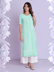 Imperial Sea Green Color Function Wear Full Stitched Thread Work Beautiful Cotton Rayon Kurti Plazo For Ladies