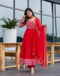 Alluring Red Color Full Stitched Georgette Designer Embroidered Work Wedding Wear