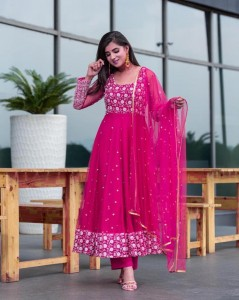 Knockout Rani Pink Color Ready Made Embroidered Work Function Wear Georgette Salwar Suit