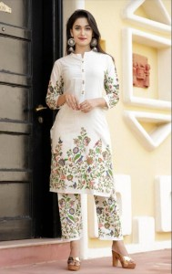 Beckoning Off White Festive Wear Cotton Printed Full Stitched Kurti Plazo For Women