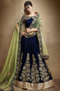 Enthralling Navy Blue Tapeta Velvet Embroidered Work Lehenga Choli For Wedding Wear