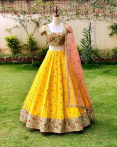 Fetching Yellow Color Wedding Wear Silk Embroidered Work Lehenga Choli