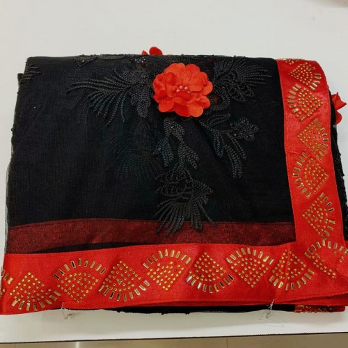 Bewitching Black Color Festive Wear Soft Net Fancy Rubin Work Flower With Hot Fix Diamond Border Saree Blouse For Women