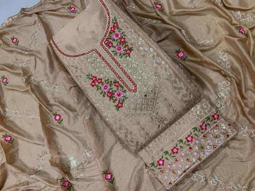 Lovely Tortilla Color Fancy Embroidered Diamond Sequence Work Chinon Salwar Suit For Festive Wear