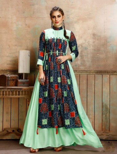 Amazing Pista Green Color Rayon Printed Ready Made Gown Design Online