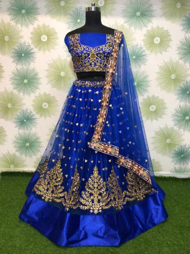 Accomplished Royal Blue Net With Embroidered Work Lehenga Choli VT1046RC176K