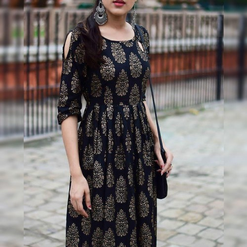 Attractive Black Rayon Printed Full Stitched Kurti For Regular Wear MINIAB182A