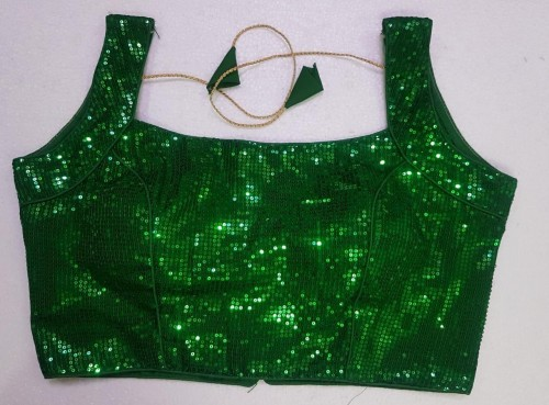 Amazing Green Sequence Work Full Stitched Fancy Blouse VT3062146C