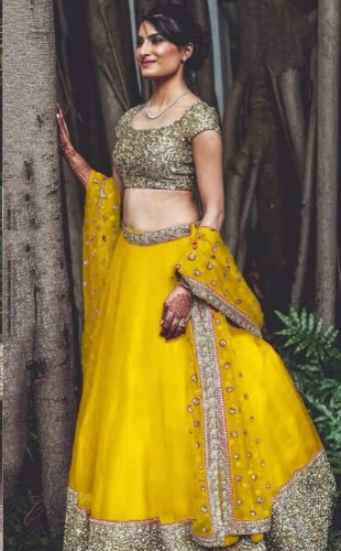 Astonishing Yellow Net With Sequence Work Lehenga Choli VIVAAHFASHION101C