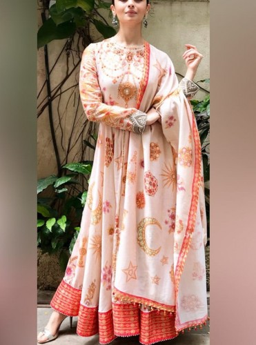 Attractive Peach Georgette With Digital Printed Gown MINIAB169A