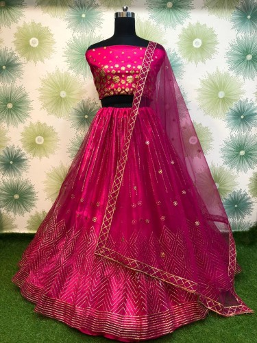 Stylish Magenta Color Soft Net Designer Embroidered Badala Work Lehenga Choli For Function Wear