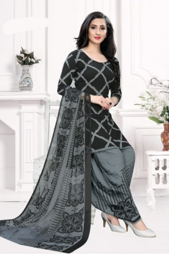 Radiant Black Color Printed Leyon Dress Material For Party Wear