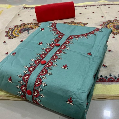 Phenomenal Light Blue Color Fancy Embroidered Work Pc Cotton Salwar Suit For Festive Wear