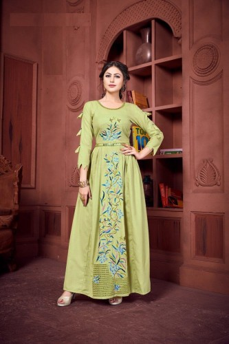 Party Wear Pista Color Ruby Cotton with Embroidery Kurti