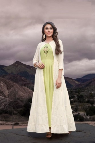 Party Wear Pista Color Cotton with Shrug Kurti
