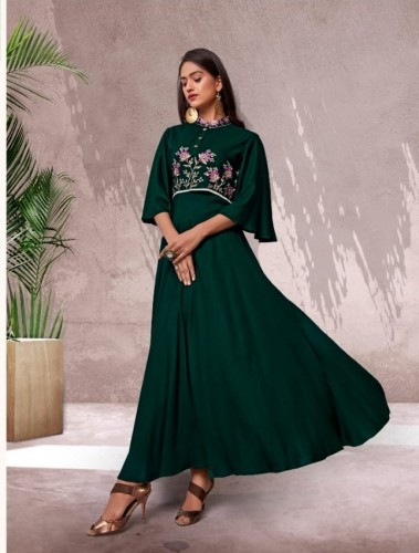 Bottle Green Color Festive Wear Embroidered Work Full Stitched Rayon Long Kurti
