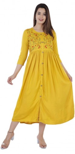 Capricious Yellow Color Rayon Designer Embroidered Work Ready Made Kurti For Daily Wear