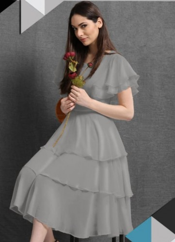 Appealing Grey Color Party Wear Ready Made Sinon Silk Ruffle Gown Design