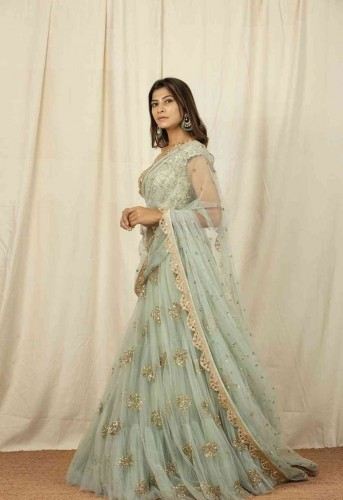 Appealing Sea Green Color Round Soft Net Designer Golden Embroidered Machine Work Lehenga Choli For Party Wear