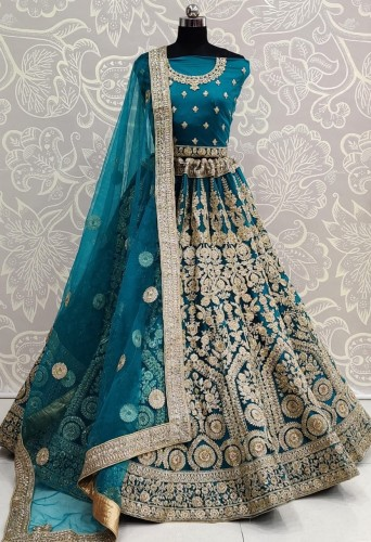 Champion Rama Blue Color Beautiful Bridal Wear Soft Net Embroidered Diamond Thread Work Lehenga Choli