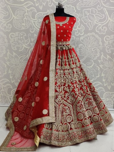Amazeballs Red Color Wedding Wear Soft Net Diamond Embroidered Thread Work Lehenga Choli Design