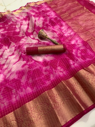 Gorgeous Rani Pink Color Beautiful Silk Organza Checks Printed Saree Blouse For Women