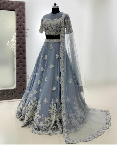 Artistic Grey Color Function Wear Soft Net Embroidered Work Lehenga Choli