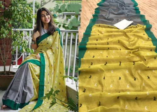 Artistic Mehendi Green Color Classy Cotton Digital Printed Saree Blouse For Function Wear