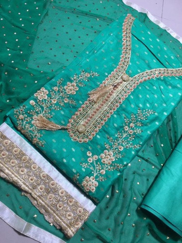 Adorable Green Color Cambric Cotton with Embroidery/ Moti Work Salwar Suit