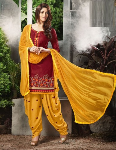 Maroon and Yellow Cotton Heavy Embroidered Patiyala Style Dress Material