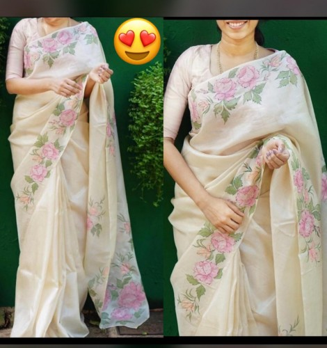 Adorable Off White Color Designer Organza Digital Printed Casual Wear Saree Blouse