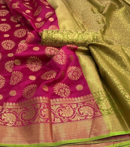 Beautiful  Function wear Pink Crystal  Silk with Work  Sari