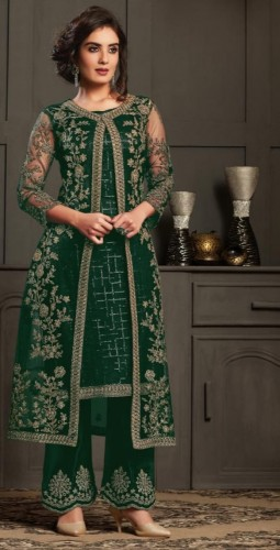 Admirable Bottle Green Color Festive Wear Soft Net Butterfly Design Coding Embroidered Work Salwar Suit