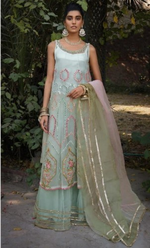 Artistic Sea Green Color Function Wear Net Mirror Embroidered Work Salwar Suit Design