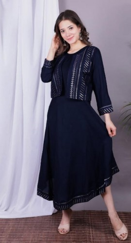 Captivation Navy Blue Function Wear Full Stitched Rayon Sequence Work Kurti Jacket Style