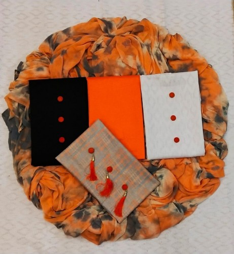 3 Top Orange Color Printed Cotton Dress Material