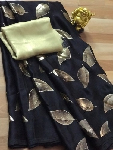 Beauty BlackColor Pure Imported Rich Silk Sari with Gold Metty Blouse Fabric