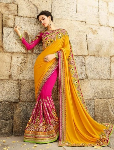Fancywear Pink/ Yellow Georgette Embroidered Work  Sari