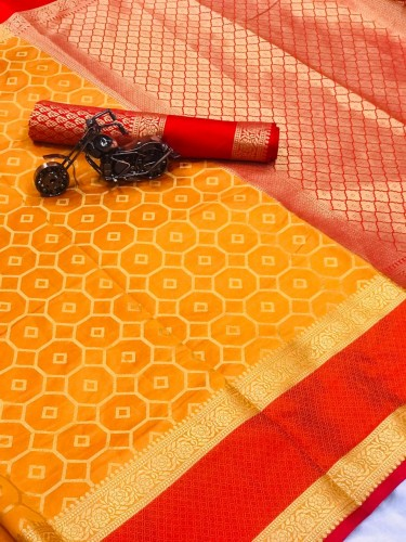 Awesome Yellow and Red Color Combination Pure Banarasi Silk Sari with Running Blouse piece