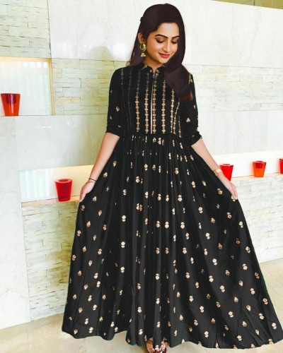 Black Color Rayon Long Gown type Kurti for women