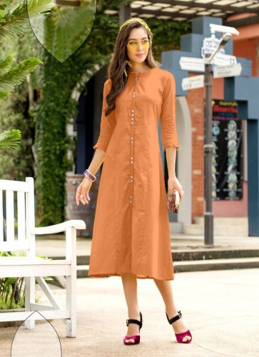 Beautiful Orange Color Cotton Kurti With Side Cut For Girls