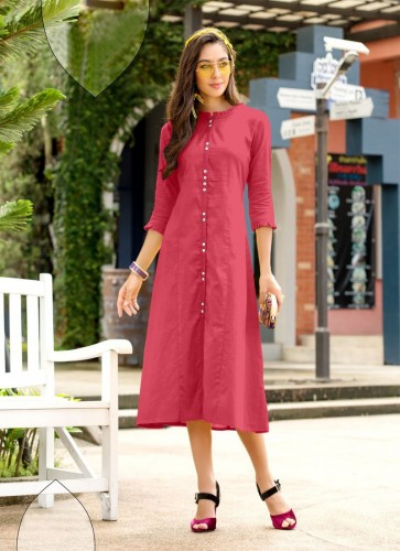 Carrot Red Color Cotton Kurti With Side Cut For Women