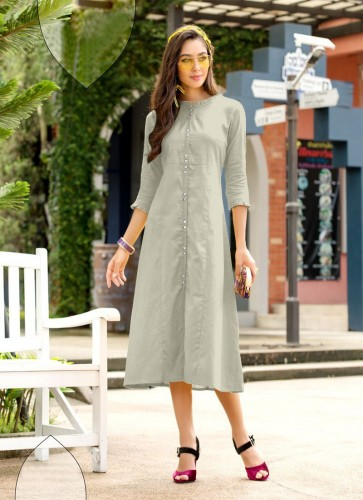 Party Wear Light Color Cotton Kurti With Side Cut For Women