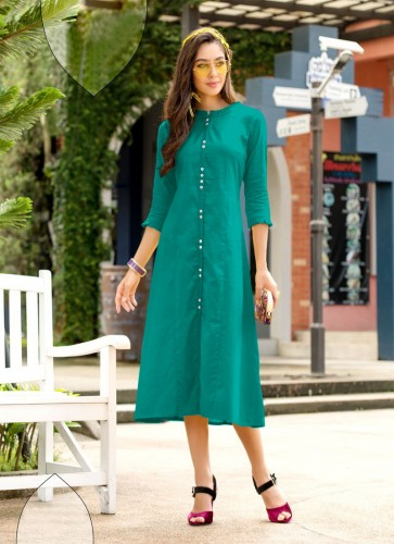 Party Wear Rama Color Cotton Kurti With Side Cut For Women