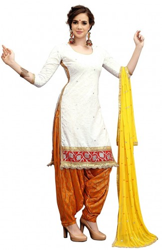 White Top Cotton Embroidered work with Banarasi Silk bottom Salwar Suit