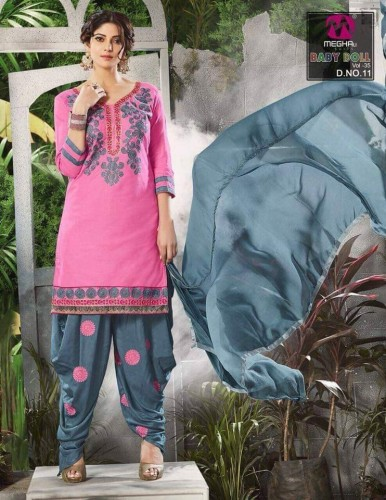 Pink Embroidered Cotton Patiyala Dress Material