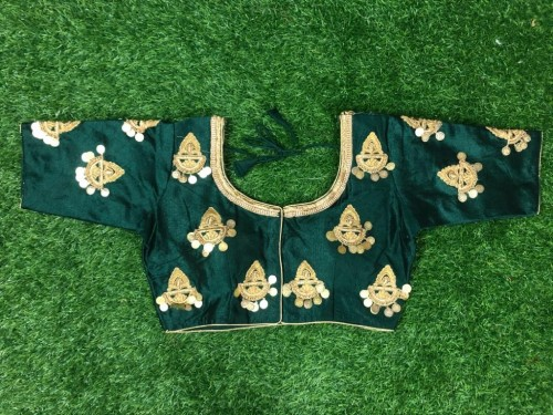 Dark Green Embroidered Silk Full Stitched Fancy Blouse Design Online