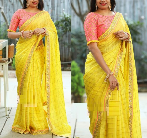 Fashion Special Yellow Chanderi Silk Sari With Beaufiful Handtype Embroidered work
