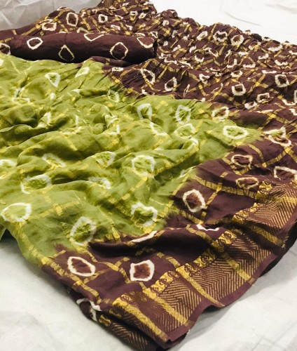 Beautiful Green/ Brown Designer Pure Cotton With Zari Weaving Chex Sari And Unstitched Blouse VT1087102F